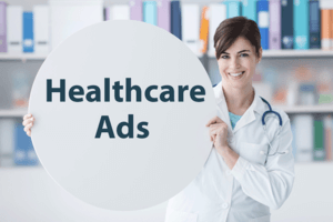 Smiling Doctor holding Healthcare Ads sign