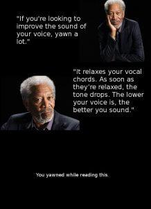 Morgan Freeman yawning Kim Handysides Voiceover