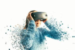 Woman wearing VR glasses pixel fragmentation Kim Handysides voiceover