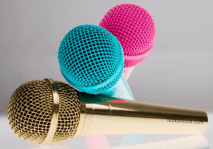pink blue and plain microphone Kim Handysides Voice Over
