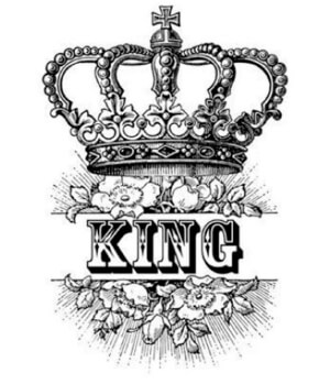 drawing of a crown and word king