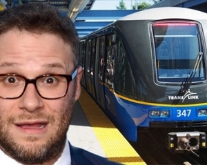 Seth Rogen beside subway car Kim Handysides Voiceover